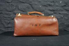 Antique Tan Leather Gladstone Bag with J.E.P Monogram ~ Vintage Doctors Case