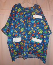 Rockets Blasting Off on Blue Scrubs Top with 3 Pockets for Size 3X  FSMTP45