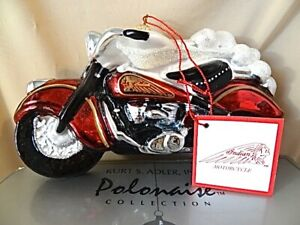 Kurt Adler Polonaise Collection Glass Ornament - Indian Motor Cycle - NIB