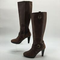 Cole Haan Womens 11B Tall Heeled Fashion Boots Brown Leather Side Zip High Heels