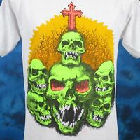 vintage 80s SKULL CEMETERY CARTOON T-Shirt SMALL zombie skeleton horror thin NOS