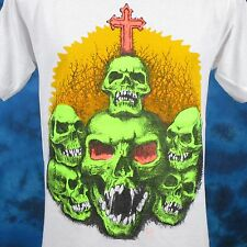 vintage 80s SKULL CEMETERY T-Shirt SMALL zombie skeleton horror punk rock thin