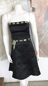 Jessica McClintock For Gunne Sax Black Satin A-line Sleeveless Dress Size 6