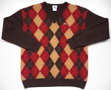 Lacoste para Hombre Medio Cuello en V suéter de Francia 100% Lana ARGYLE  Cuadros Rojo Beige Marrón 0cade40a19