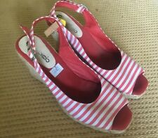 Red & White striped open toe wedge sling back shoes size 39