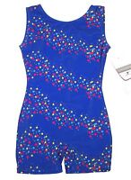 Nwt New Danskin Biketard Unitard Tank Bike Leg Blue Royal Star Sleek Cute Girl