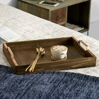 Rustic Burnt Wood 16-inch Breakfast Serving Tray with Copper-Tone Metal Handles