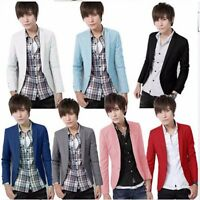 Fashion Stylish Men Casual Slim Fit One Button Suit Dress Blazer Coat Jacket Top