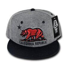 Gray & Black California Republic Cali Red Bear Star Flat Bill Snapback Cap Hat