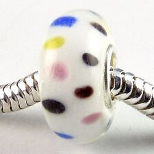 Sterling Silver Glass Charm Bead with White With Dainty Dots