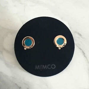 GENUINE Mimco STATIC STUD earrings IPANEMA BLUE Toned Studs Jewelry BNWT earring