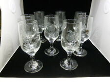Set of 8 Vintage Floral Etched Sherry Cordial Glasses - MINT!