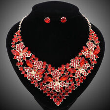 Fashion Red Crystal Beads Jewelry Sets For Women Bridal Wedding Necklace Earring