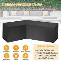 Black L Shape Sofa Cover Patio Outdoor Garden Furniture Waterproof Protector US