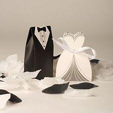 100 novia y el novio boda favor Caramelo Cajas Dulces Regalo para Invitados Con Cinta