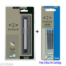 Parker Vector SS Steel CT Chrome Trim Fountain Ink Pen + 3 Blue Ink USA Seller
