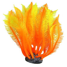 Aquarium Artificial Fake soft Orange Coral Plant Fish Tank Decoration Orna UKPL
