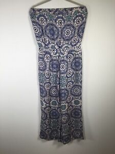 Thurley womens silk multicolour geometric strapless jumpsuit size 8 sleeveless