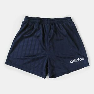 Vintage 90s Adidas Shorts Spell Out Sports Football Gym Navy Made In Italy W30 S