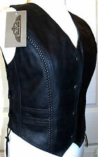 Popper Hip Length Leather Casual Waistcoats for Women
