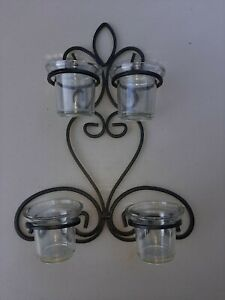 Candle Holder Wall Hanging Black Scrolling Metal With Glass Cups