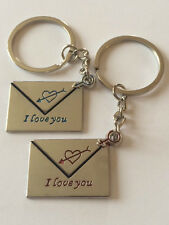 "LOVERS GIFT KEYRINGS ENVELOPE ""I LOVE YOU"" ENGRAVED CUPIDS ARROW HEART"
