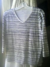 KIM ROGERS     WOMENS    L    V-NECK  SHIRT   3/4 SLEEVES   BLACK/WHITE STRIPES