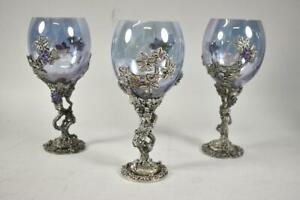 Three Fellowship Foundry Pewter & Hand Blown Goblets Grape & Vine Details