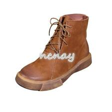 Women's Leather Lace Up Vintage High Top Ankle Boots Casual Cowboy Western Shoes