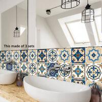 KQ_ FT- 10X Moroccan Style Tile Wall Floor Sticker Decal Living Room Bathroom De