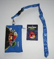 10 Blue Angry Bird Lanyard rovio Fast Pass ID Badge Holder Zipper Wallet Pouch