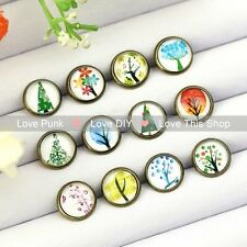 12pairs10mm Fashion Earrings Stud Earrings Glass cabochon Earrings the hope tree