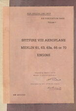 SUPERMARINE SPITFIRE VIII - AIR PUBLICATION A.P.1565H - VOLUME I ( TECHNICAL )