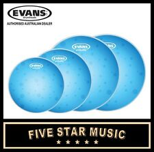 "EVANS HYDRAULIC BLUE 4 PCE DRUM SKIN SET WITH COATED SNARE 10"" 12"" 14"" 14"" HEADS"