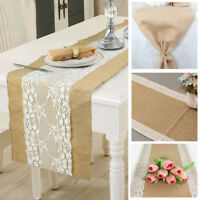 US Hessian Burlap Table Runner Weding Flower Lace Natural Rustic Vintage Decor