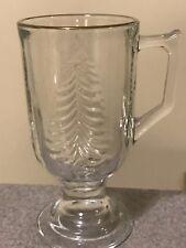 Indiana Glass Christmas Tree  Irish Coffee Cup Pedestal Footed Mug Gold Rim