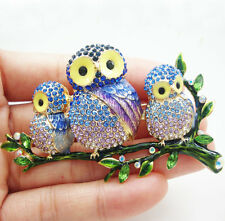 Austrian Crystal Classic Blue 3 Owl branch Bird Vintage Brooch Pin Gold Tone