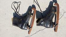 Men's 6.5 vintage Harlick's San Francisco figure skates Old wooden blade guards