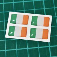 4x Ireland Irish Flag Domed Stickers - High Gloss Raised Gel Finish