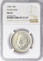 1936 Cleveland Commemorative Silver Half Dollar - NGC MS 63 - Mint State 63