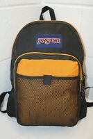 Vintage JanSport USA Made Backpack w/ Mesh Front Pocket YELLOW! School Gym Hike
