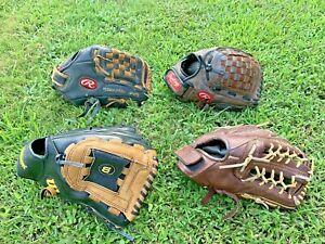 "4 Rawlings Wilson Franklin 12"" baseball softball  Glove Lot R-H AD360  RPR06"