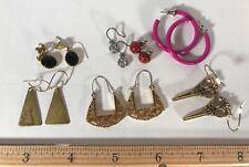 Pierced Earrings costume jewelry 7 pr lot scissor Hoop post dangle Rhinestone y4