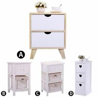 White Nightstand Wood Bedside Table Bedroom Sofa Furniture/Side End Table Indoor