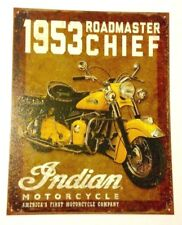 Motorcycle Indians Roadmaster Chief 1953 Sign Metal New Collectible 12 1/2x16in