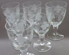 SET 6 BOHEMIA CZECHOSLOVAKIA GRAPE VINE PORT GLASSES