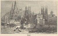 C8131 Spain - Burgos - Cathedral - Stampa antica - 1892 Engraving