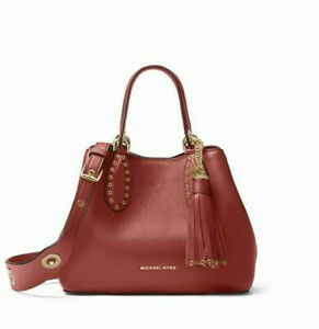 NWT Authentic Michael Kors Brooklyn Small Leather Grab Bag in Brandy
