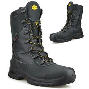 Mens Leather Waterproof Zip Up Safety Steel Toe Cap Work Biker Boots Shoes Size