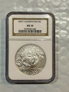 2007 P Jamestown 400th Anniversary Uncirculated Silver Dollar NGC MS70